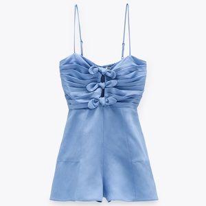 NEW Zara Bow Trim Linen Blend Romper Jumpsuit XL